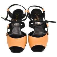 Chanel Black Satin and Tan Leather Strappy High Heel Evening Sandals With Box