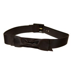 Chanel Black Satin Bow Belt 85/34