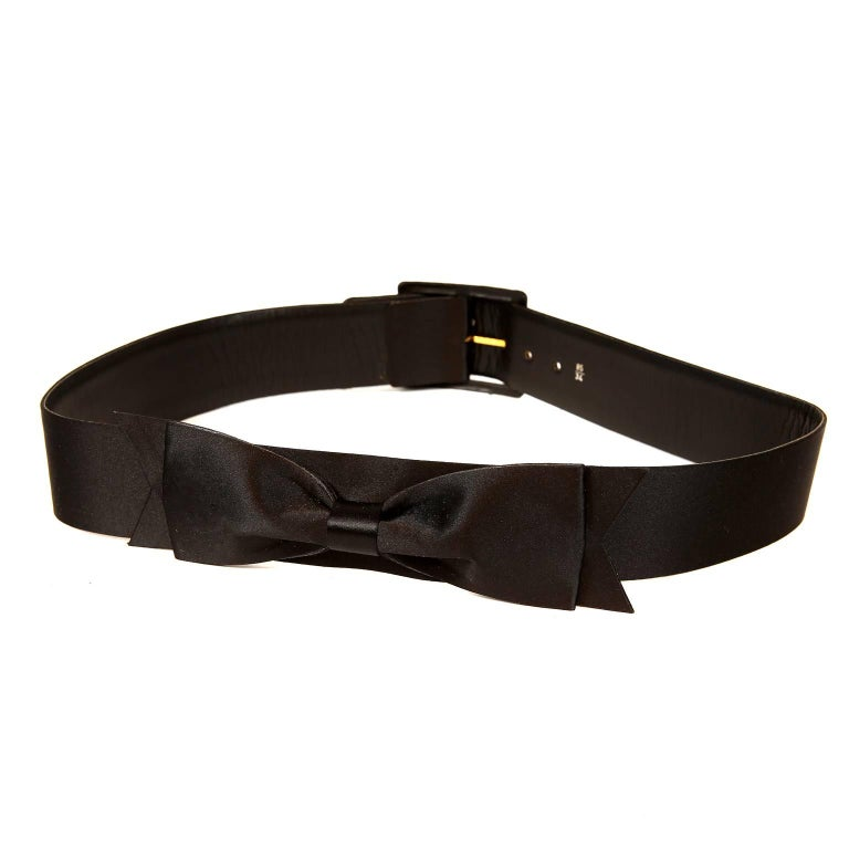 Chanel Black Satin Bow Belt 85/34 For Sale