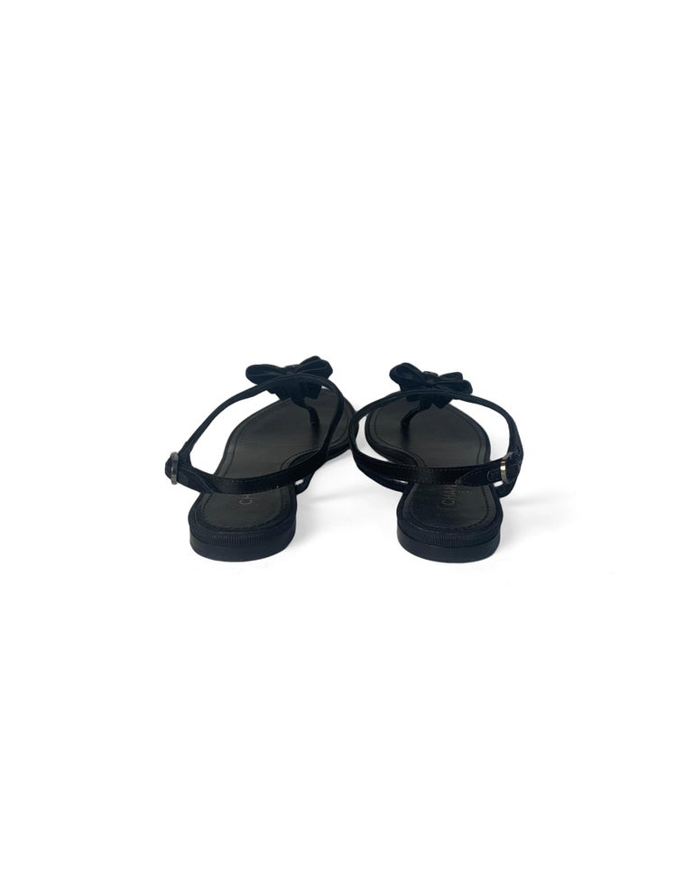 Women's Chanel Black Satin Bow CC Thong Sandals sz 36 rt. $795 For Sale