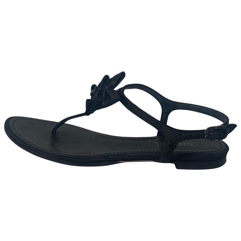 Chanel Black Satin Bow CC Thong Sandals sz 36 rt. $795 For Sale