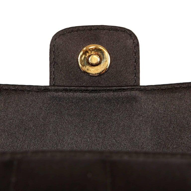 Chanel Black Satin Camellia Cross Body Bag For Sale 6