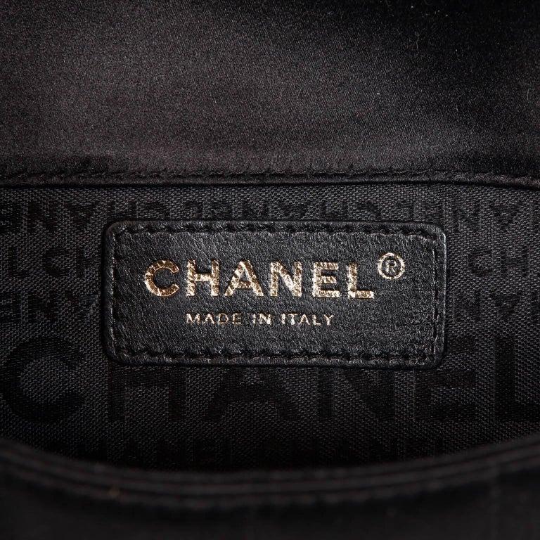 Chanel Black Satin Camellia Cross Body Bag For Sale 7