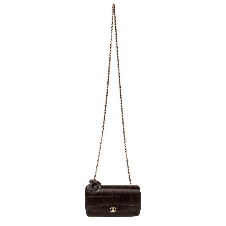 Chanel Black Satin Camellia Cross Body Bag For Sale 9