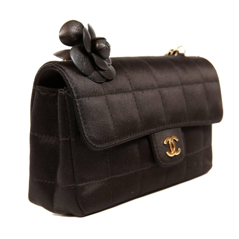 Chanel Black Satin Camellia Cross Body Bag In New Condition For Sale In Palm Beach, FL