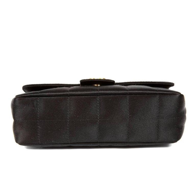 Women's Chanel Black Satin Camellia Cross Body Bag For Sale