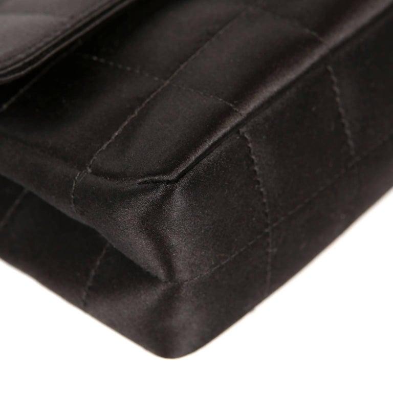 Chanel Black Satin Camellia Cross Body Bag For Sale 1