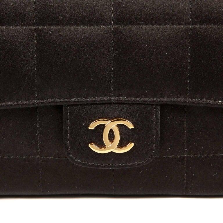 Chanel Black Satin Camellia Cross Body Bag For Sale 2