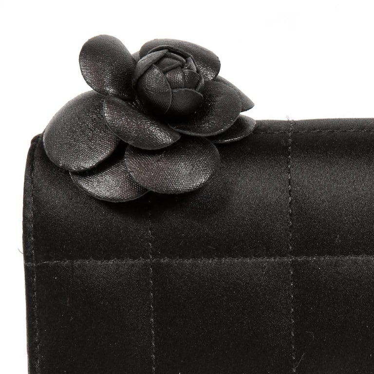 Chanel Black Satin Camellia Cross Body Bag For Sale 3