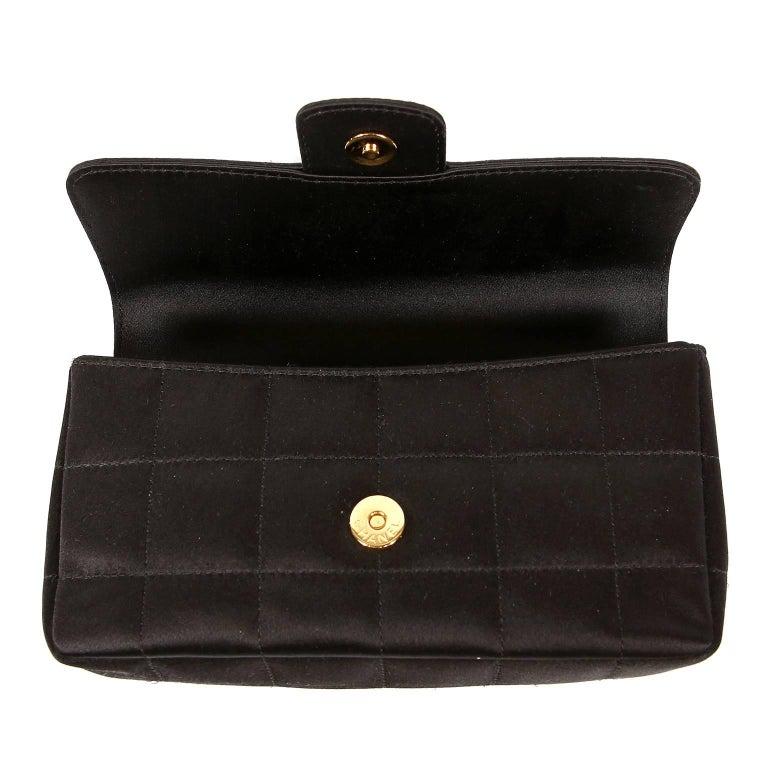 Chanel Black Satin Camellia Cross Body Bag For Sale 4