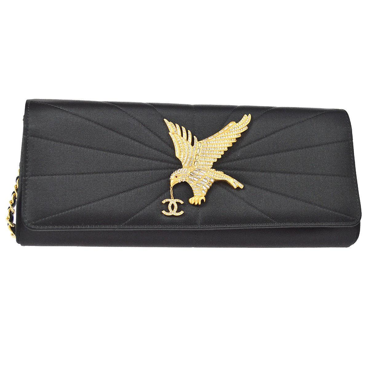 Chanel Black Satin Gold Rhinestone Bird Charm Evening Clutch Flap Bag in Box