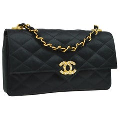 Chanel Black Satin Gold Rhinestone Evening Party Clutch Shoulder Flap Bag in Box