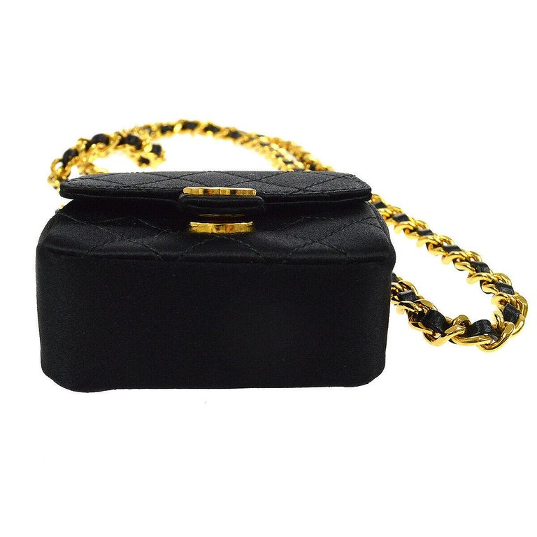 Women's Chanel Black Satin Gold Small Micro Mini Party Crossbody Shoulder Flap Bag For Sale