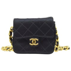 Chanel Black Satin Gold Small Micro Mini Party Crossbody Shoulder Flap Bag