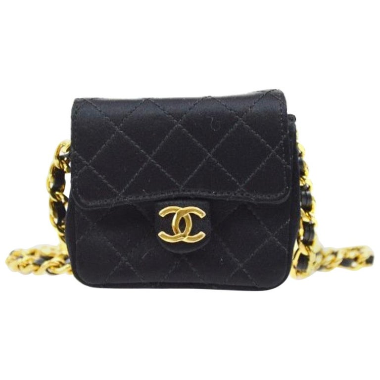 Chanel Black Satin Gold Small Micro Mini Party Crossbody Shoulder Flap Bag For Sale