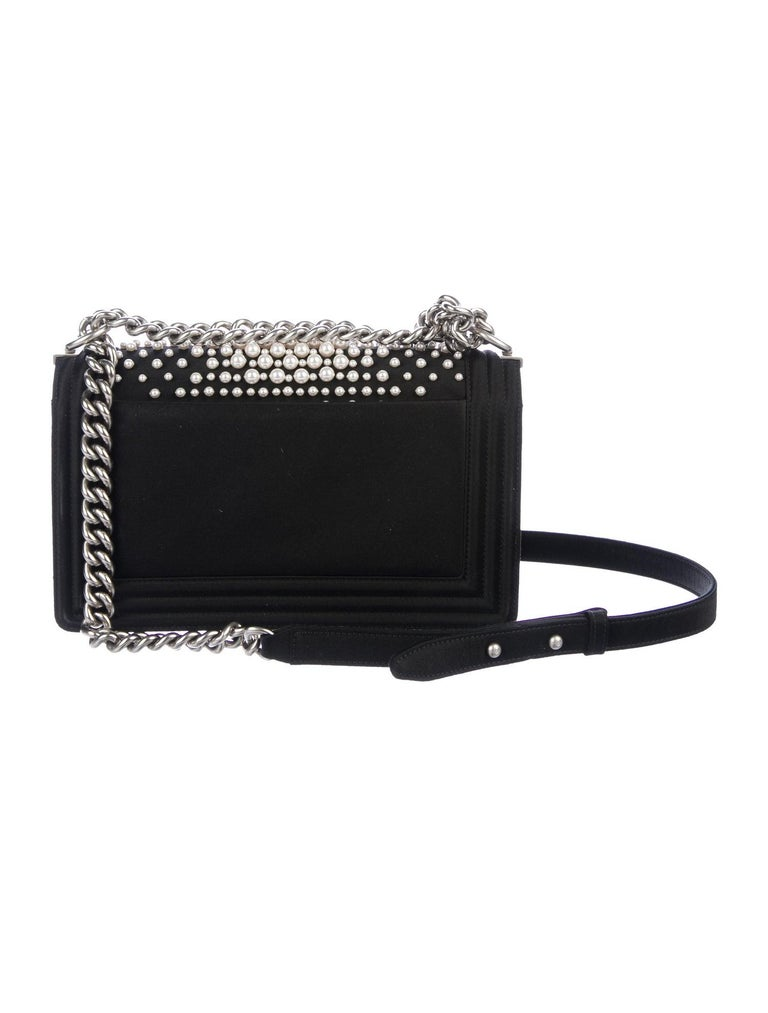 Chanel Black Satin Pearl Silver Evening Boy Small Shoulder Flap Bag In Excellent Condition In Chicago, IL