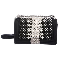 Chanel Black Satin Pearl Silver Evening Boy Small Shoulder Flap Bag