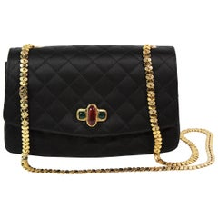 Chanel Black Satin Quilted Crossbody Bag with a Red and Green Gripoix Jewel