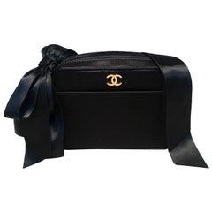 Chanel Black Satin Ribbon Shoulder Bag