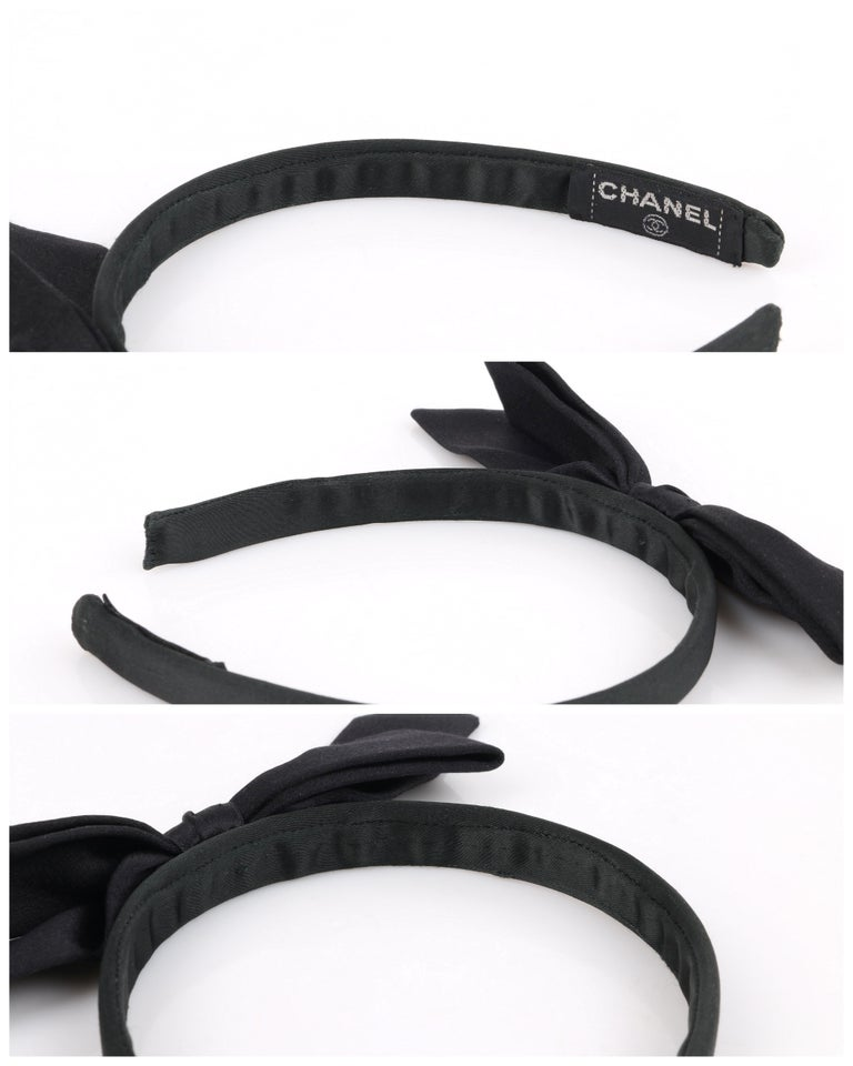 CHANEL Black Satin Silk Narrow Classic Bow Covered Structured Headband Headpiece For Sale 6