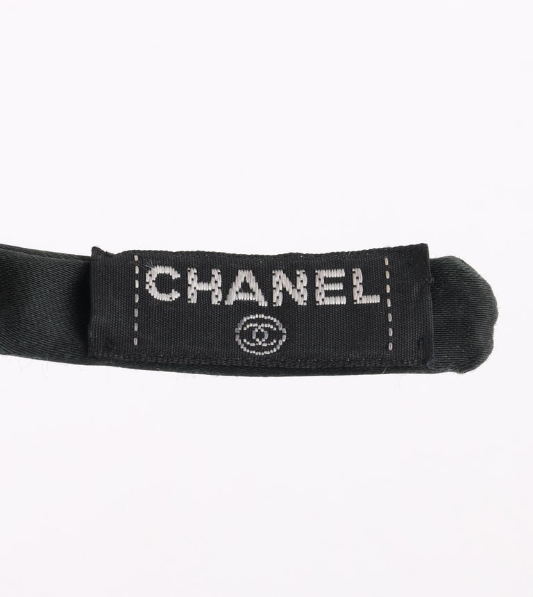 CHANEL Black Satin Silk Narrow Classic Bow Covered Structured Headband Headpiece For Sale 7