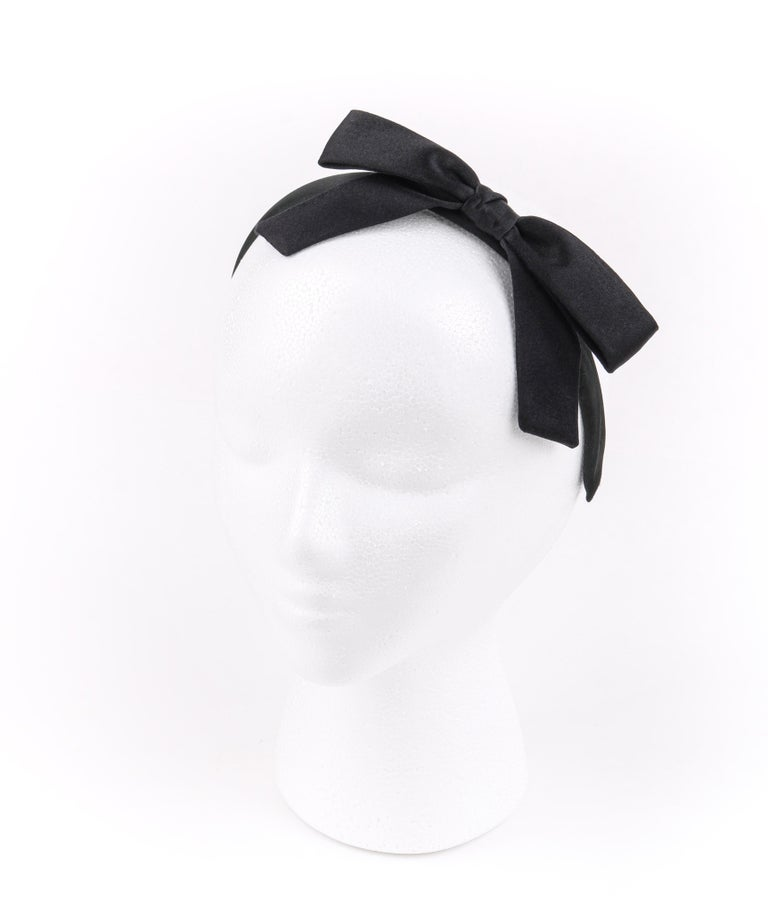 Women's CHANEL Black Satin Silk Narrow Classic Bow Covered Structured Headband Headpiece For Sale