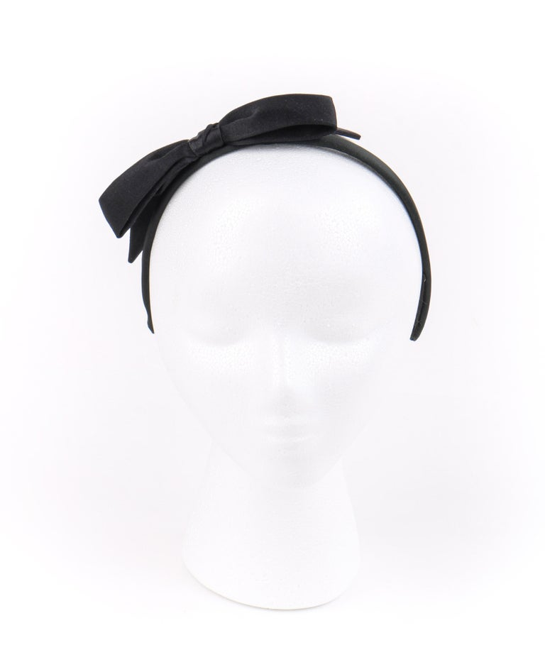 CHANEL Black Satin Silk Narrow Classic Bow Covered Structured Headband Headpiece For Sale 1