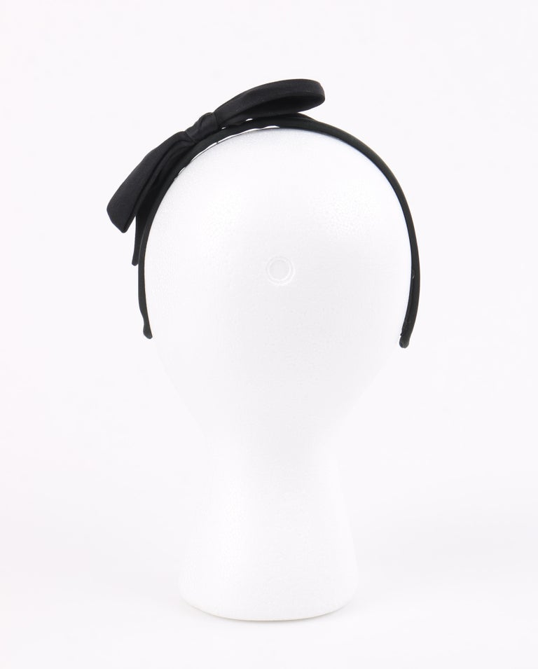 CHANEL Black Satin Silk Narrow Classic Bow Covered Structured Headband Headpiece For Sale 3