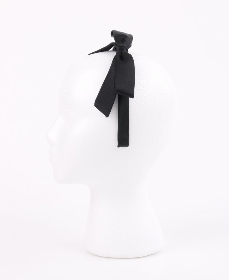 CHANEL Black Satin Silk Narrow Classic Bow Covered Structured Headband Headpiece For Sale 4