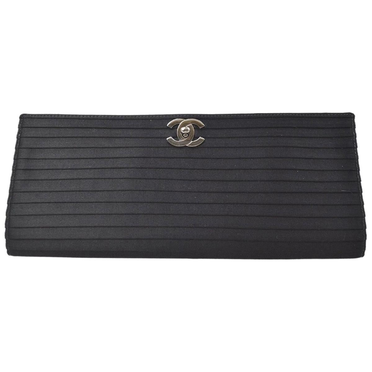 Chanel Black Satin Striped Silver CC Envelope Medium Evening Flap Clutch Bag