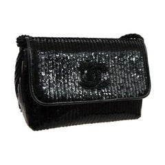 Chanel Black Sequin Beaded Fabric 2 in 1 Evening Clutch Shoulder Flap Bag