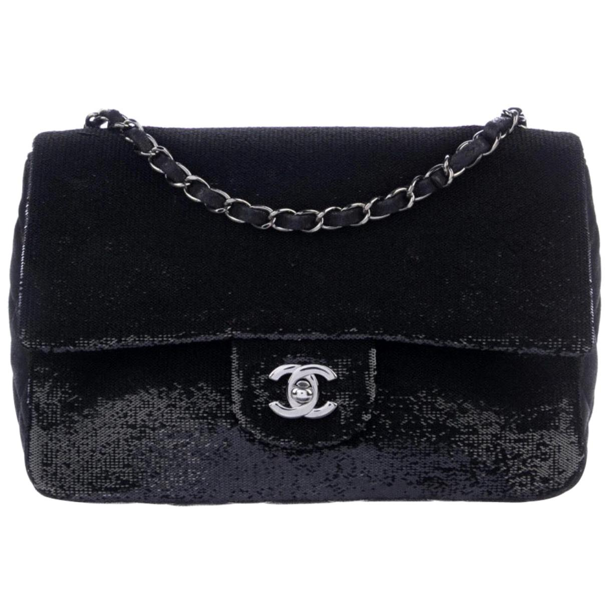 Chanel Black Sequin Leather Silver Gunmetal Medium Evening Flap Shoulder Bag