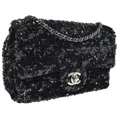 Chanel Black Sequin Silver Small Evening Shoulder Flap Bag
