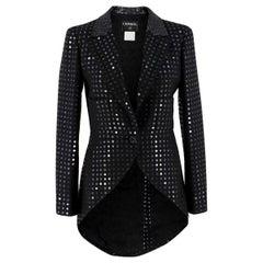 Chanel Black Sequin Tuxedo Jacket FR 38