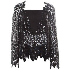 Chanel Black Sequined Cutout Guipure Lace Oversized Jacket M
