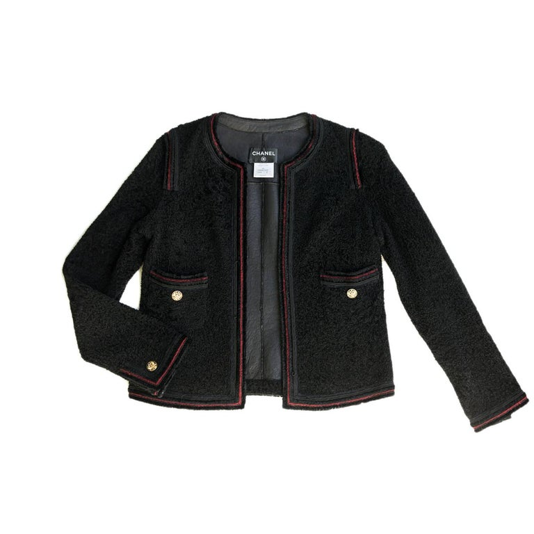 Women's Chanel Black Shearling Collarless Jacket For Sale