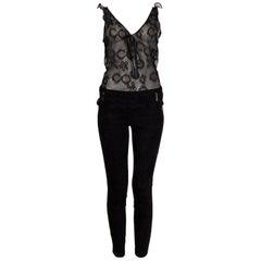 CHANEL black SHEER LACE Sleeveless Blouse Shirt Top M