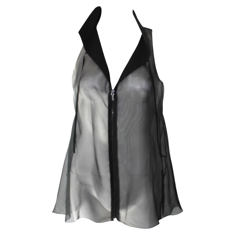 CHANEL Black Sheer Sleeveless Collar Blouse