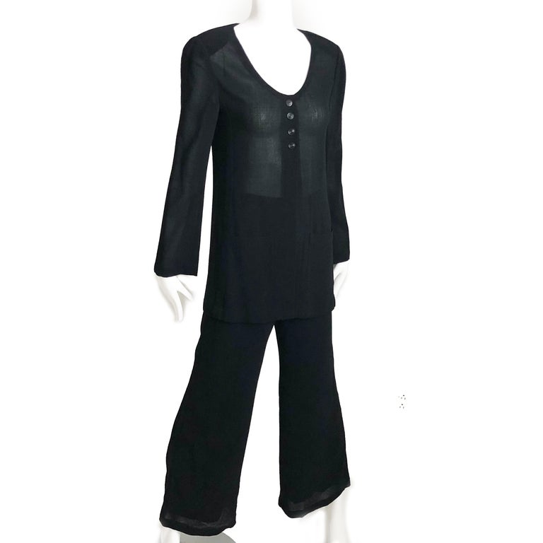 Chanel Black Sheer Wool Crepe Jacket and Pant Suit 2pc Size 36 1999 In Good Condition For Sale In Port Saint Lucie, FL