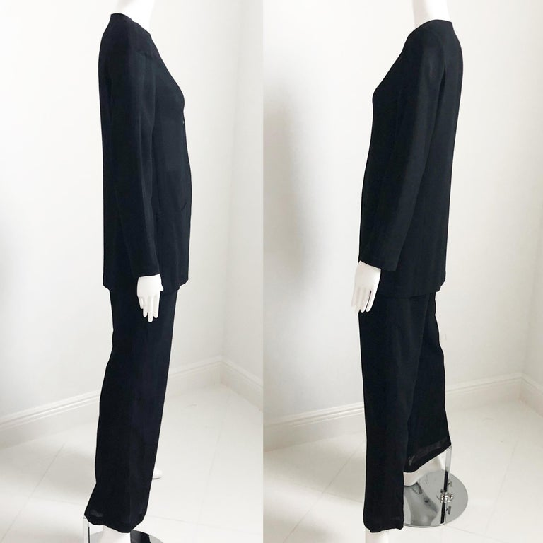 Women's Chanel Black Sheer Wool Crepe Jacket and Pant Suit 2pc Size 36 1999 For Sale