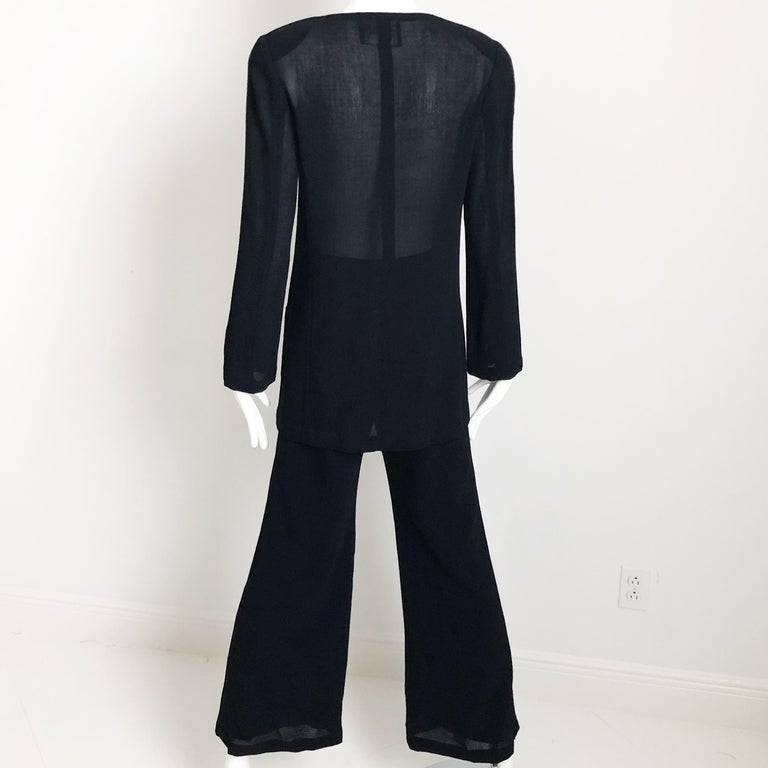Chanel Black Sheer Wool Crepe Jacket and Pant Suit 2pc Size 36 1999 For Sale 1