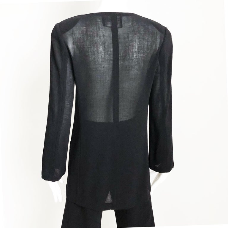 Chanel Black Sheer Wool Crepe Jacket and Pant Suit 2pc Size 36 1999 For Sale 2