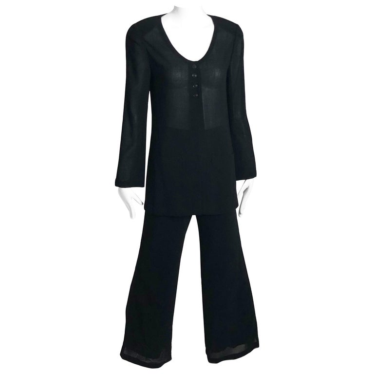 Chanel Black Sheer Wool Crepe Jacket and Pant Suit 2pc Size 36 1999 For Sale