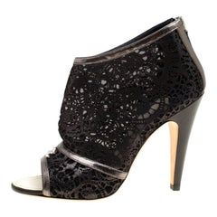 Chanel Black Shimmering Suede and Mesh Open Toe CC Ankle Boots Size 36.5