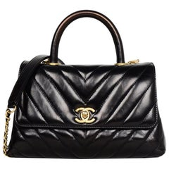 Chanel Black Shiny Calfskin Leather Chevron Quilted Mini Coco Handle Flap Bag