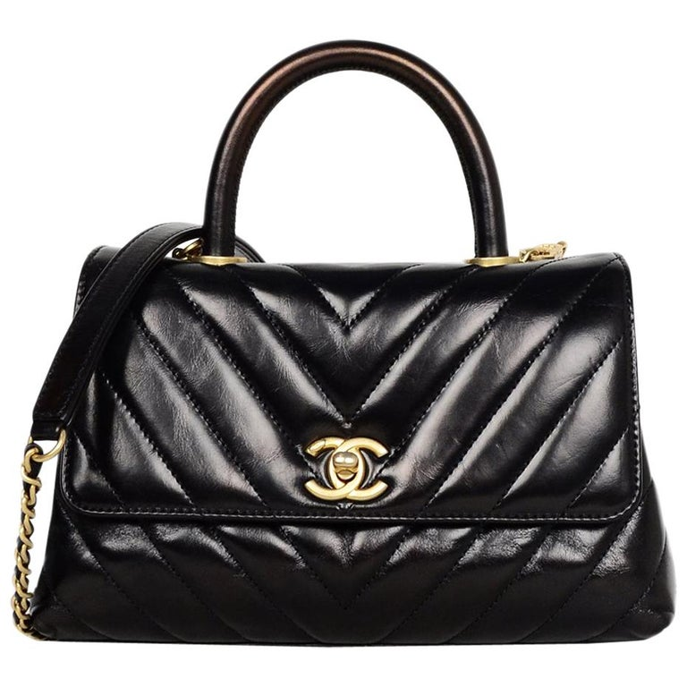 c81c9f1c59 Chanel Black Shiny Calfskin Leather Chevron Quilted Mini Coco Handle Flap  Bag For Sale