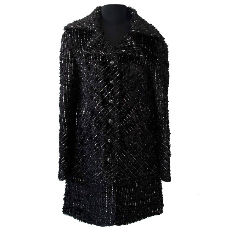 Chanel Black Shiny Tweed Vest