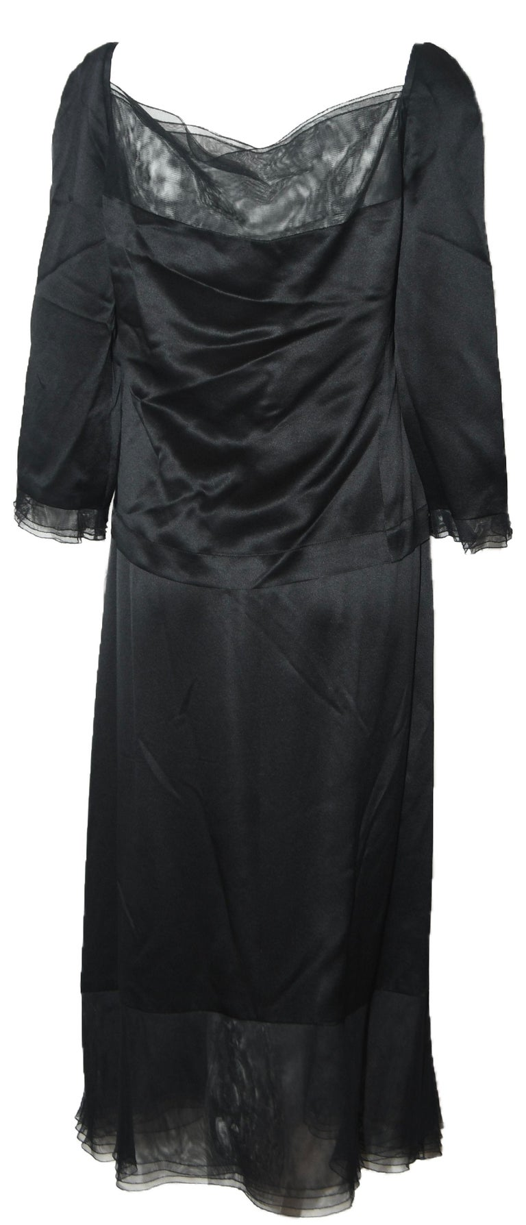 Chanel Black Silk 2 Piece Long Sleeve Top & Long Skirt Dress In Excellent Condition For Sale In Palm Beach, FL