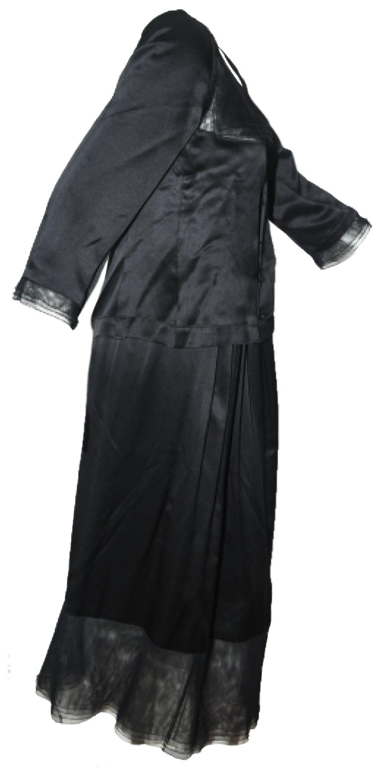 Women's Chanel Black Silk 2 Piece Long Sleeve Top & Long Skirt Dress For Sale