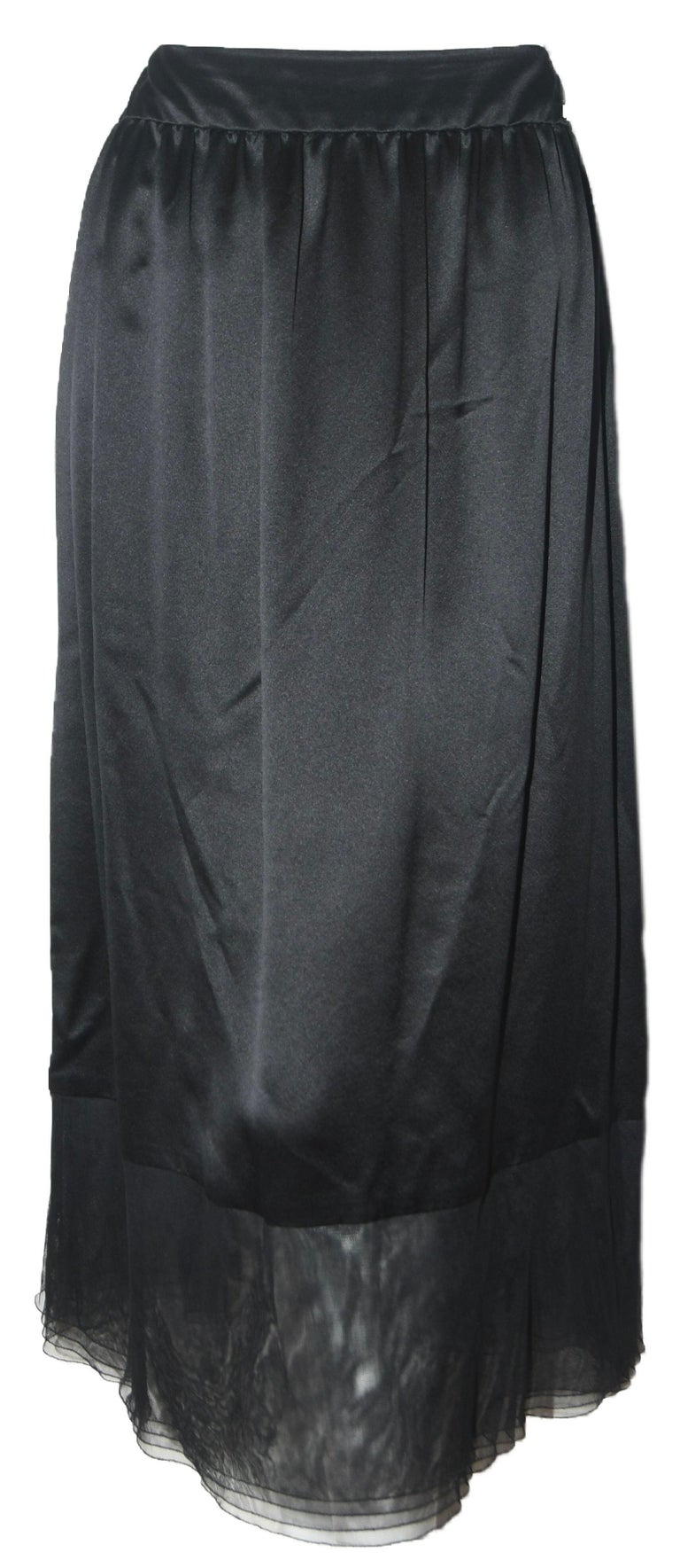 Chanel Black Silk 2 Piece Long Sleeve Top & Long Skirt Dress For Sale 1